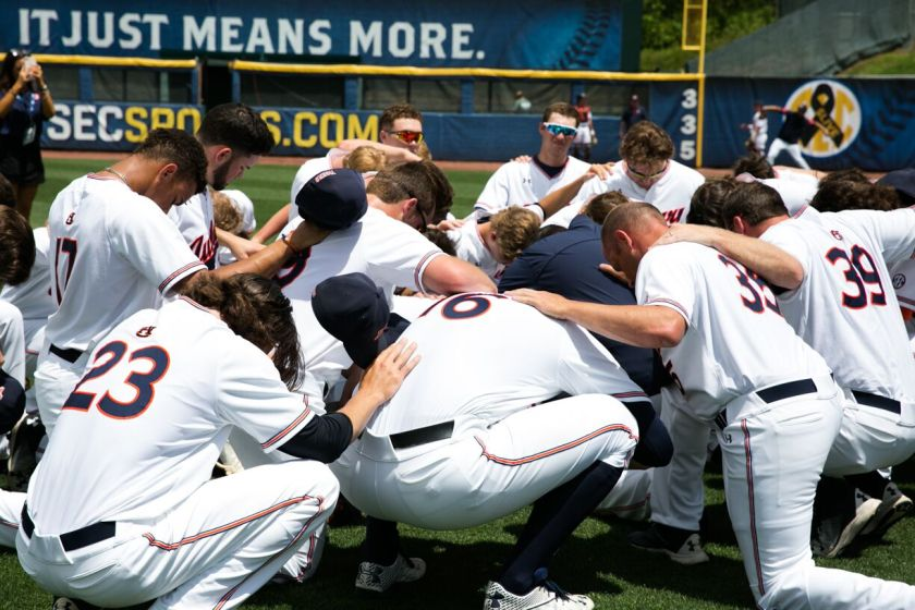 The Auburn baseball team at the 2018 SEC Baseball Tournament in Hoover. Photo via SEC Baseball Tournament