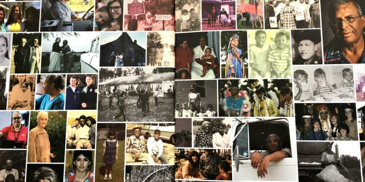 """A snapshot of the inside cover of """"Woven Together: the story of the Poarch Band of Creek Indians"""" by Fergus Media."""