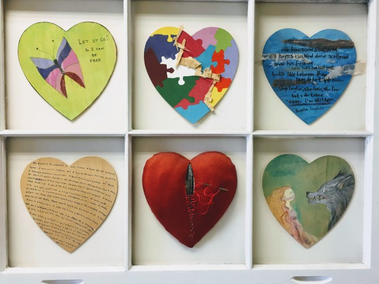 """The Wounded Heart"" is an art exhibit at the Crisis Center that helps survivors see the many stages of the healing process."