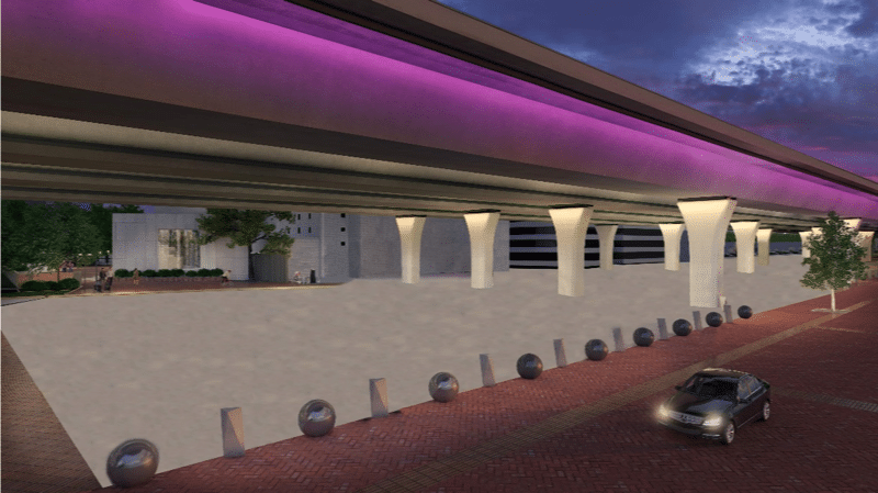 A rendering of what it may look like under the 59/20 bridges when they're done.