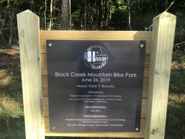Sign at Black Creek Mountain Bike Park in Hoover