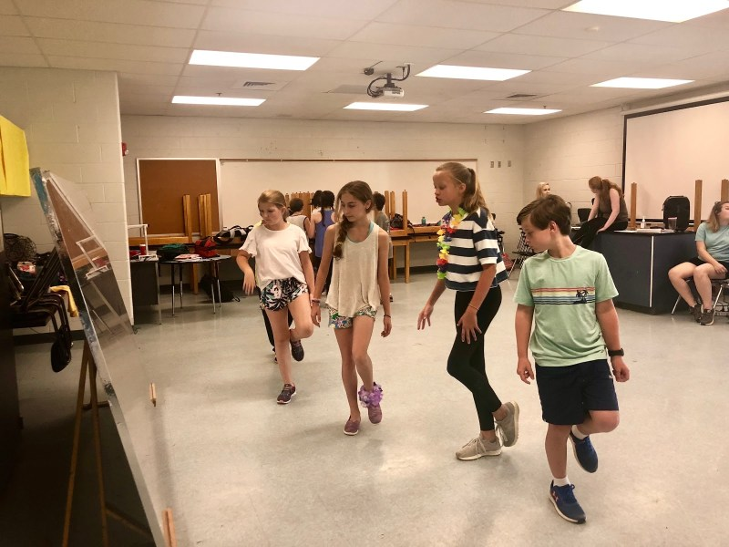 Young cast members of Red Mountain Theatre Company rehearse for Matilda The Musical