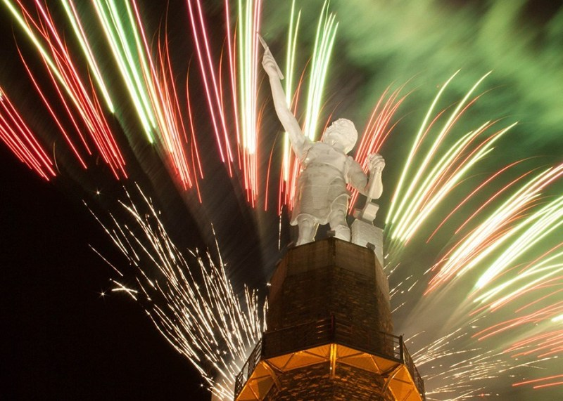 July 4 Fireworks at Vulcan Park and Museum. Birmingham, Alabama. Thousands of fireworks will launch