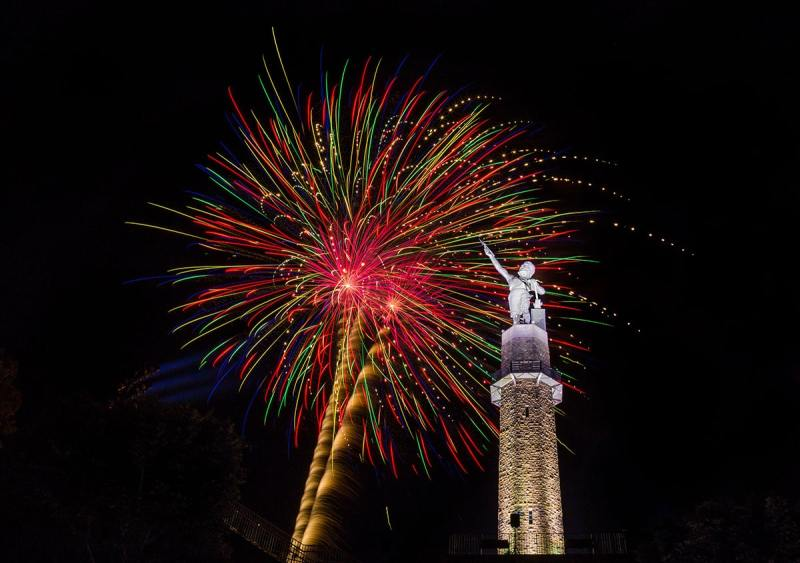 July 4 Fireworks at Vulcan Park and Museum. Birmingham, Alabama. July 4, 2019 is set for the biggest fireworks display EVER held at Vulcan Park and Museum
