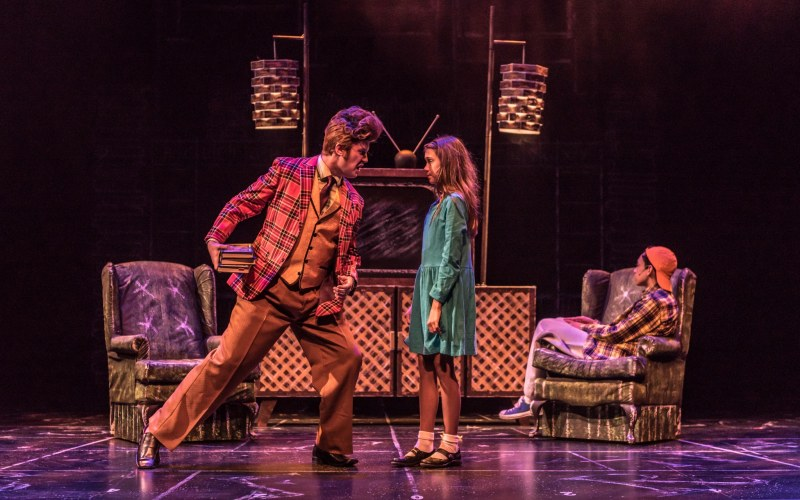 Mr Wormwood shouting at Matilda in Red Mountain Theatre Company's Matilda The Musical