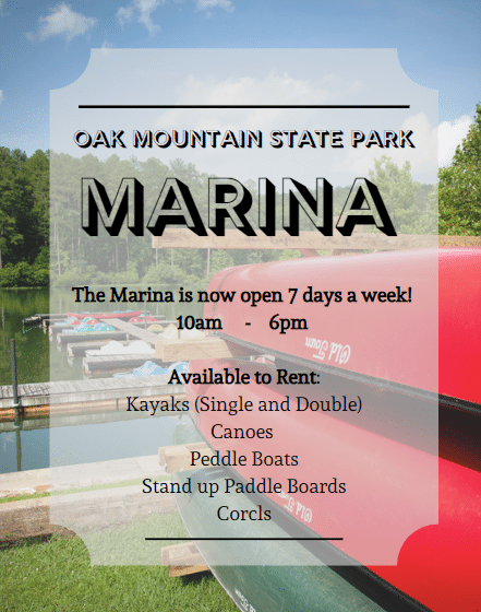 Oak Mountain State Park Marina is a good place to rent a boat.