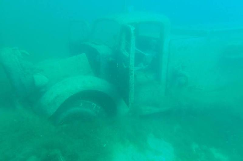 Submerged truck at Blue Water Park