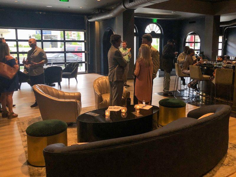 People mingling in bar area