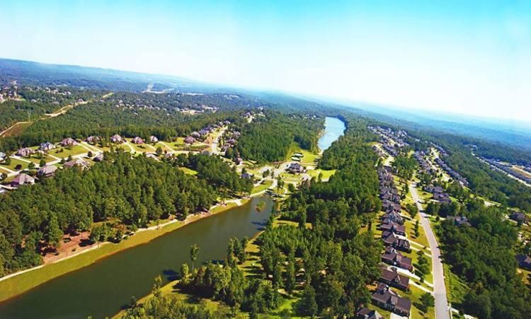 Drone's eye view of Carrington Lakes.