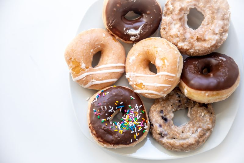 Krispy Kreme doughnuts look delicious on a plate, from the new online ordering and delivery service