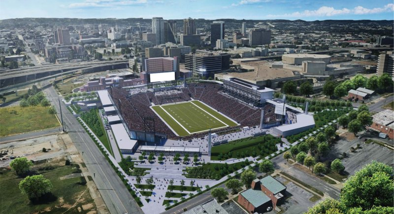 Here's a birds-eye view of the new Protective Stadium site.