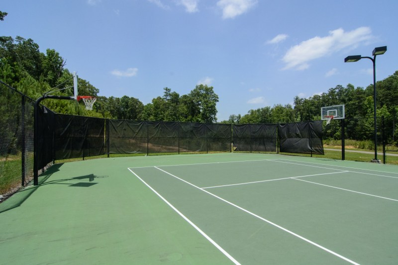 Tennis courts and basketball goals at Carrington Lakes.