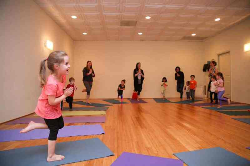 Mom and kid yoga at Villager Yoga in Cahaba Heights.