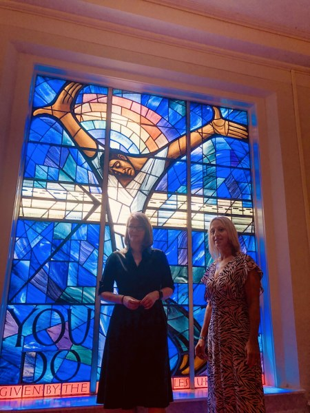Kirsty Williams, Welsh Minister for Education and Sian Lewis CEO of The Urdd at the Wales Window in Birmingham, Alabama