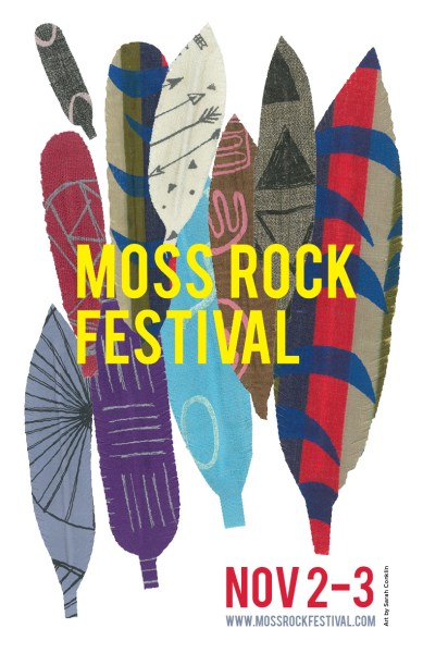 The official poster of Moss Rock Festival 2019 depicts a variety of feathers with different designs by textile artist Sarah Conklin.