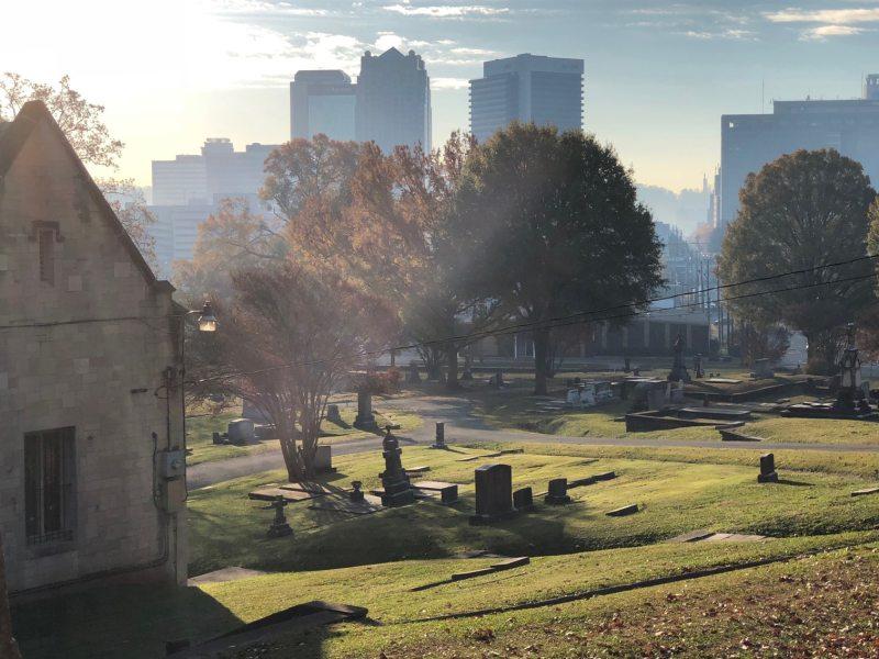 Sunrise at Oak Hill Cemetery.