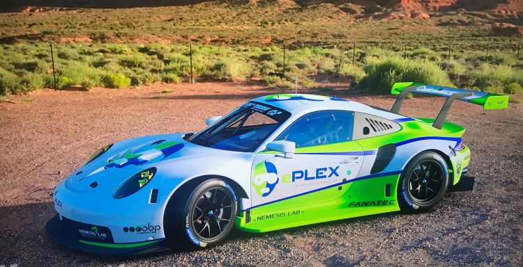 A virtual racer decked out in ePLEX logos.