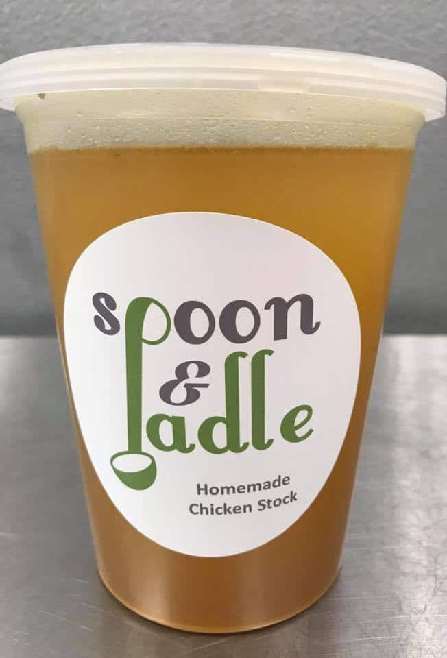 Homemade chicken stock from spoon and ladle can make a great base for your homemade chicken soup