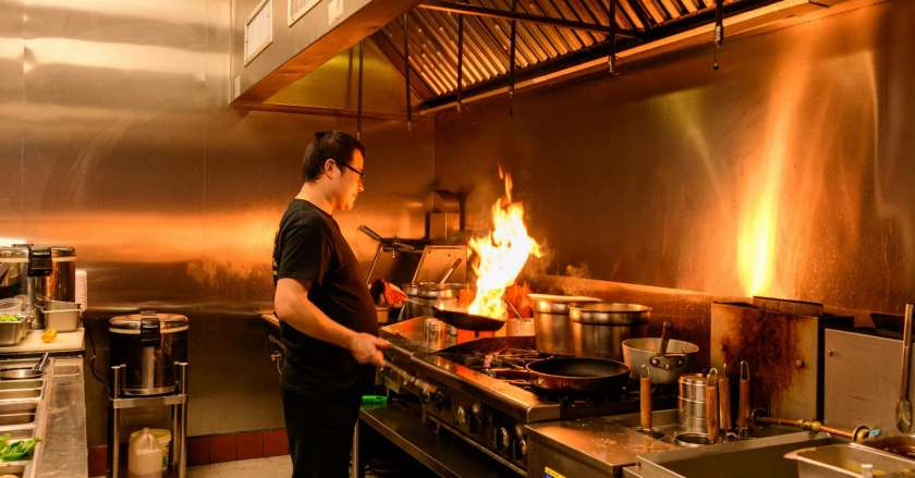 Man with fire at Ikko