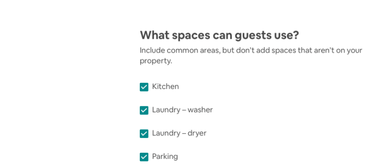 A screen shot of the amenities my apartment has.