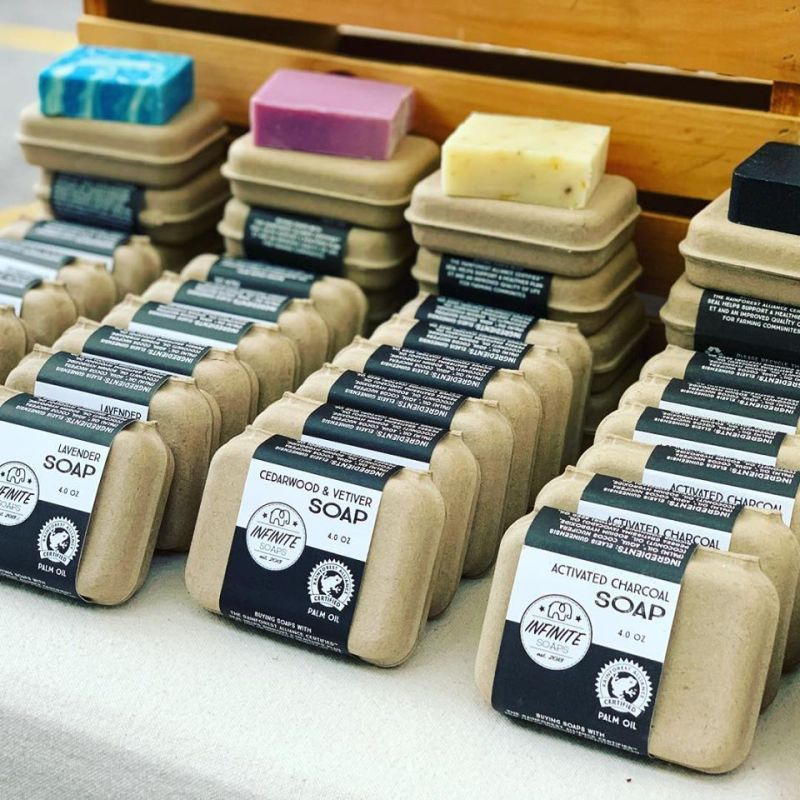 A variety of soaps on display from Infinite Soaps