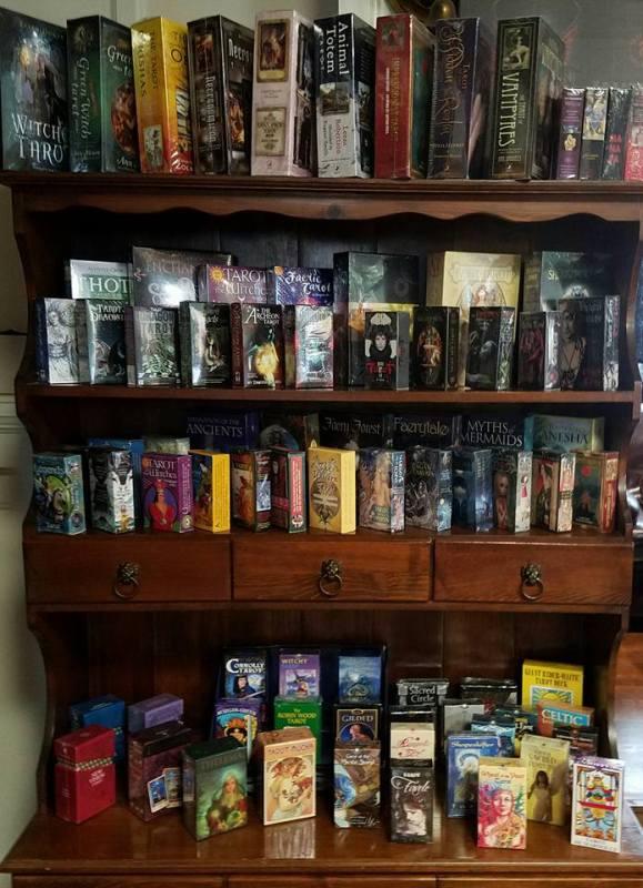 Tarot cards on the shelf