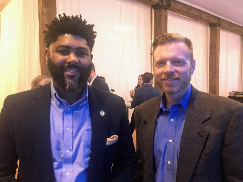Urban Impact board member Anthony Hood and Councilor Darryl O'Quinn
