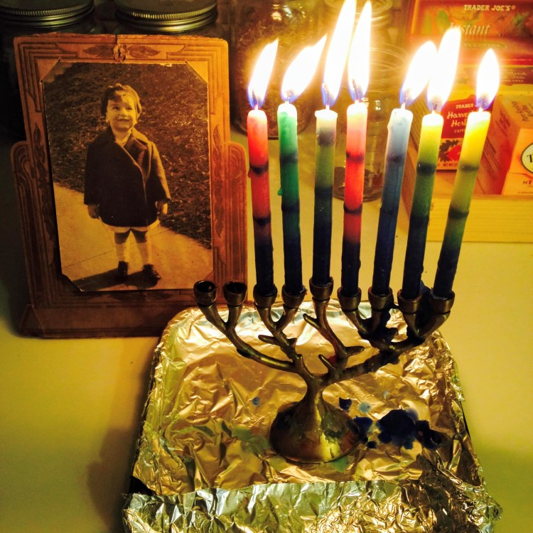 Menorah and picture of Sharron's Dad when he was little