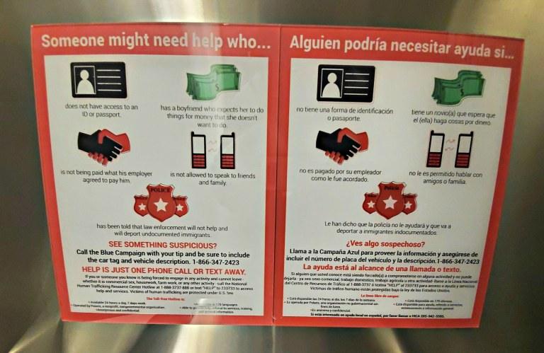 airport trafficking signs