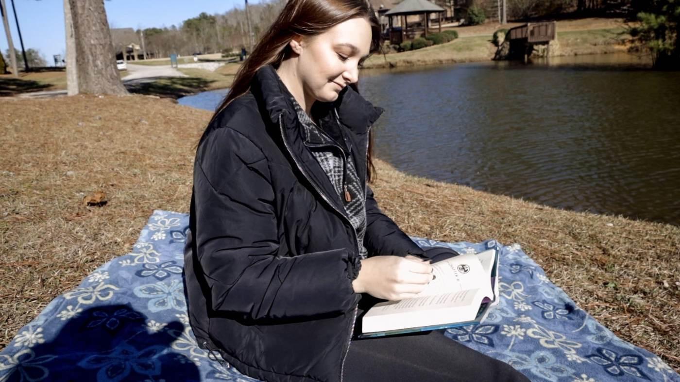 by lake at Carrington Lakes
