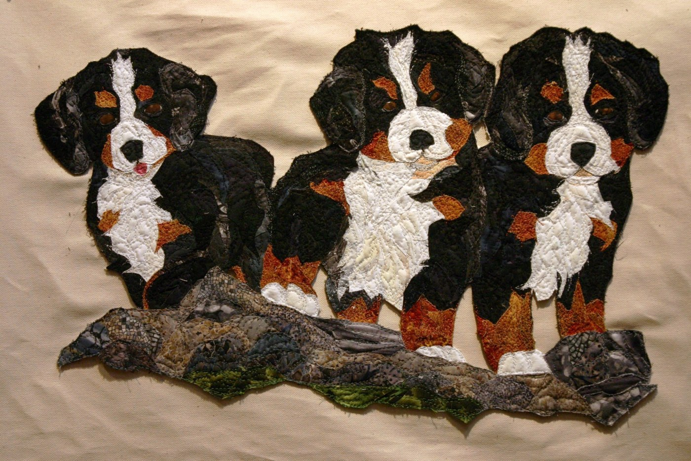 Murray Johnston quilted dog portraits