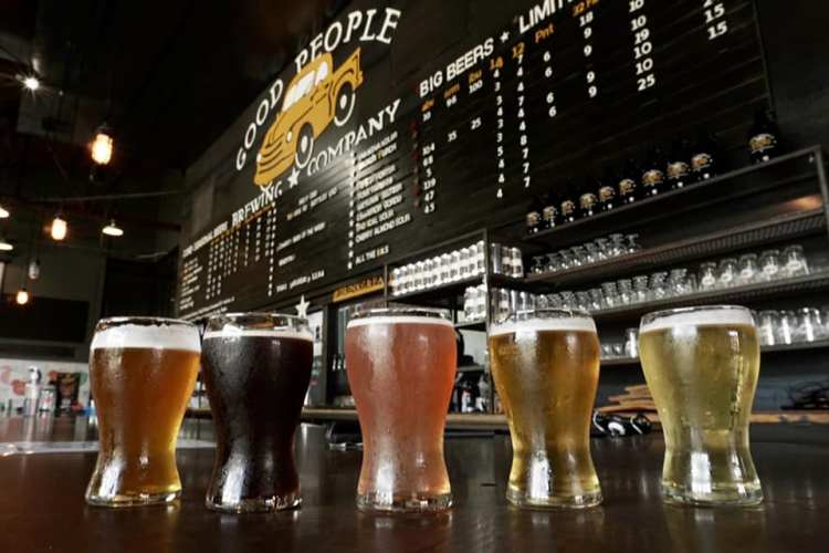 Cold beers at Good People Brewing Company next to Railroad Park
