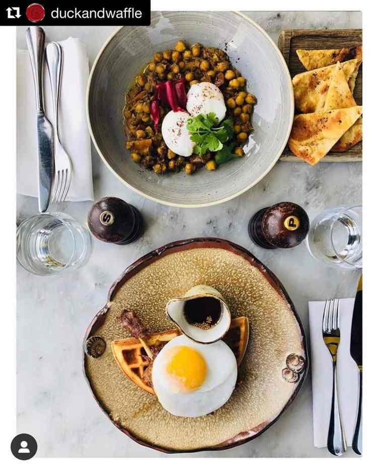 Gorgeous shot of food on pottery from Duck and Waffle in London