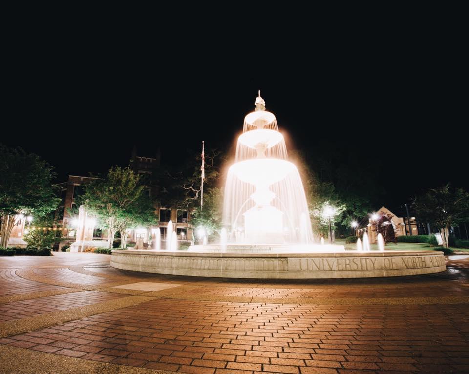 night-time fountain at UNA