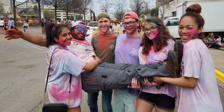 Young people celebrating HOLI with the Indian Cultural Society at BMA