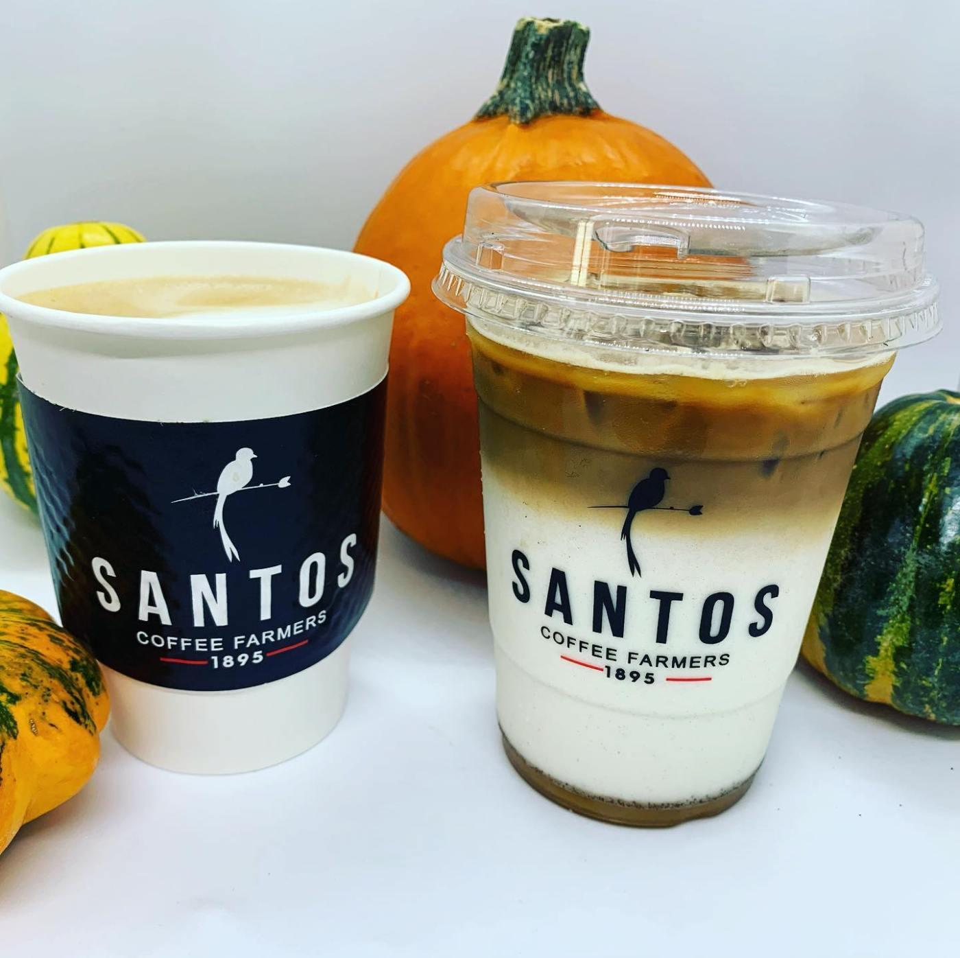 Hot coffee drink, iced coffee drink, and mini pumpkins at Santos - Birmingham coffee shops