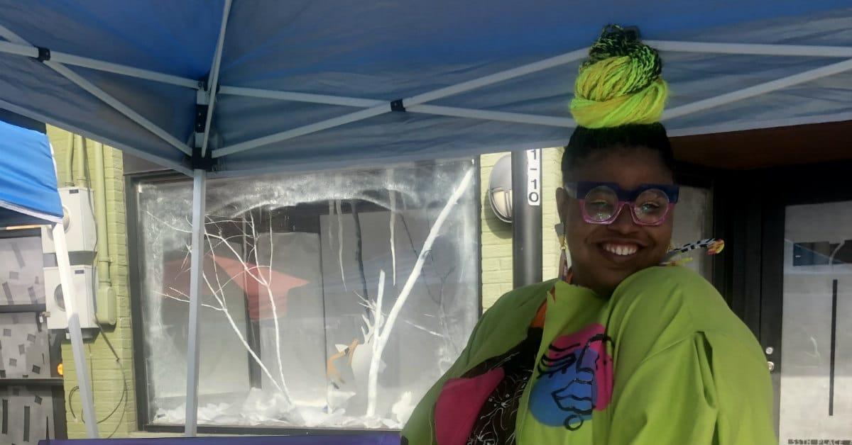 Colorful vendor at Woodlawn Street market