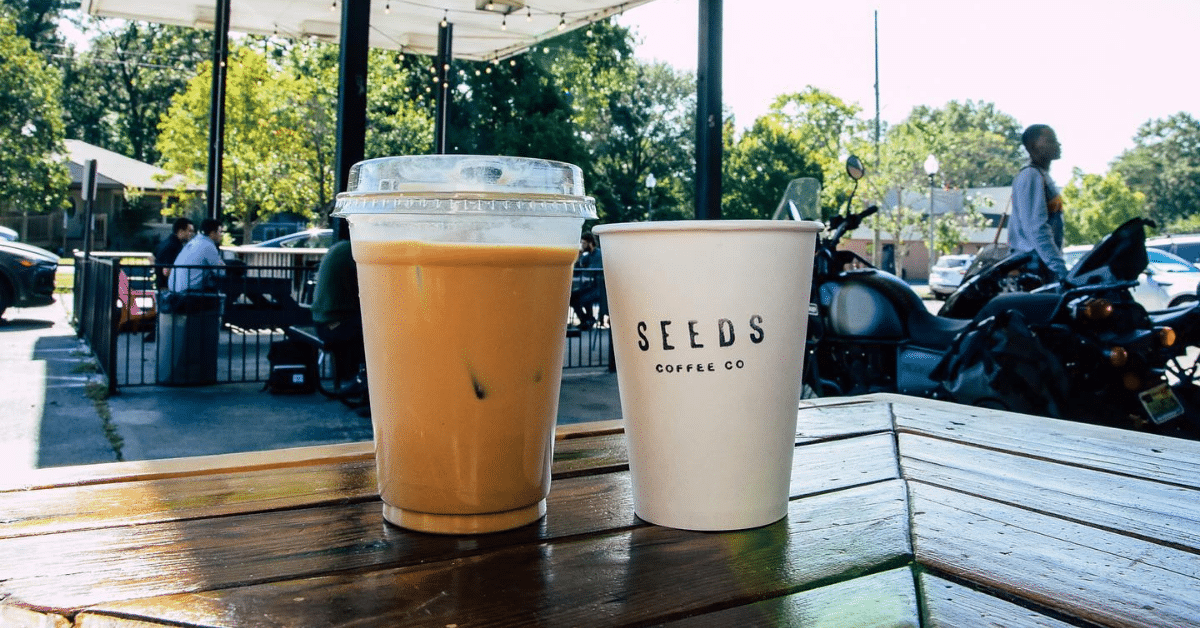 Iced pumpkin latte and hot pumpkin latte at Seeds Coffee - 9 Birmingham coffee shops to try