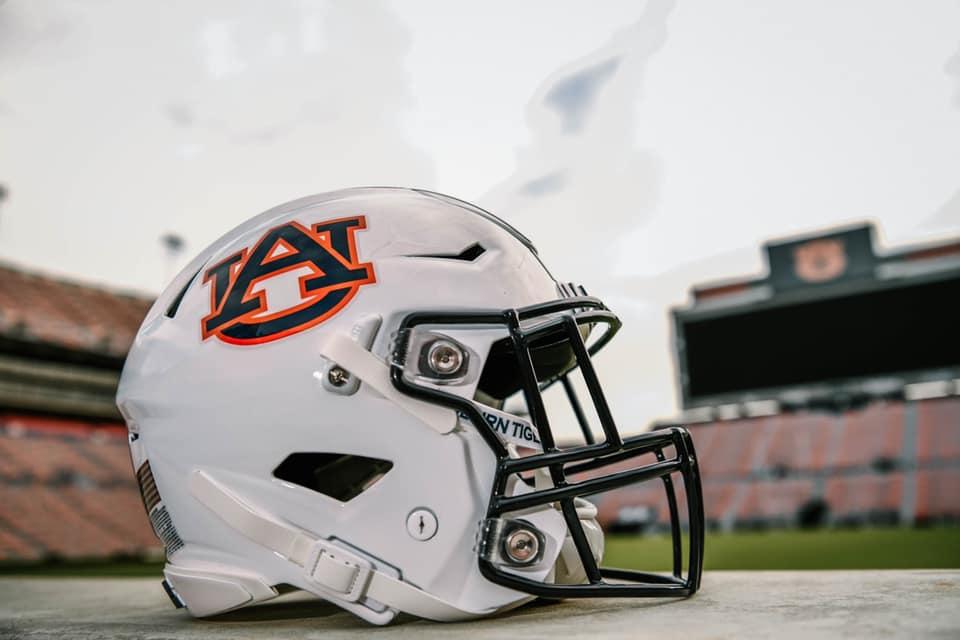 Auburn football helmet on field - Birmingham Iron Bowl
