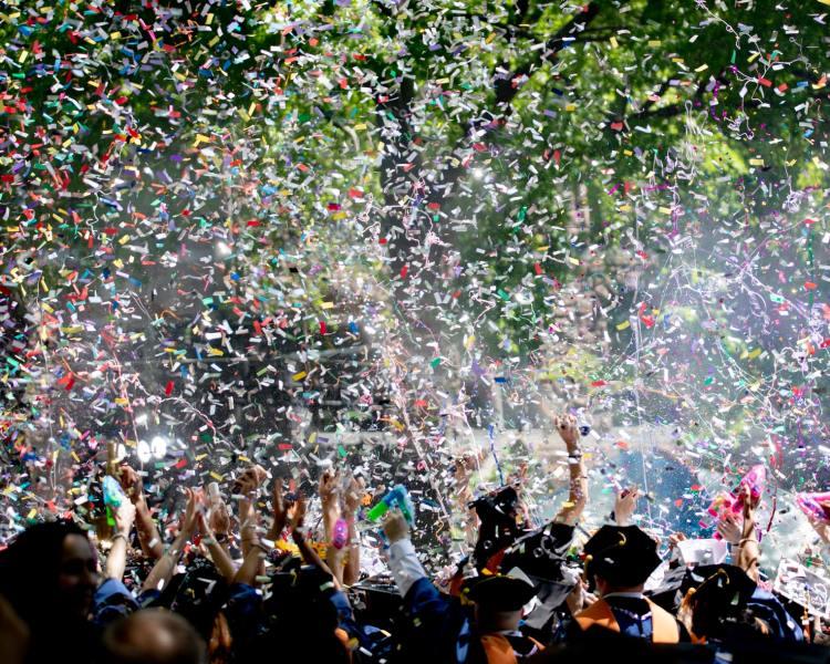 confetti at a graduation