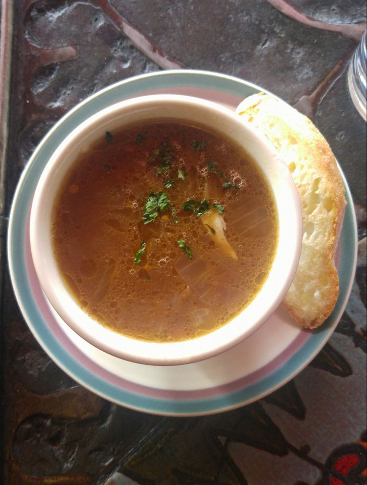 French onion soup with a side of bread