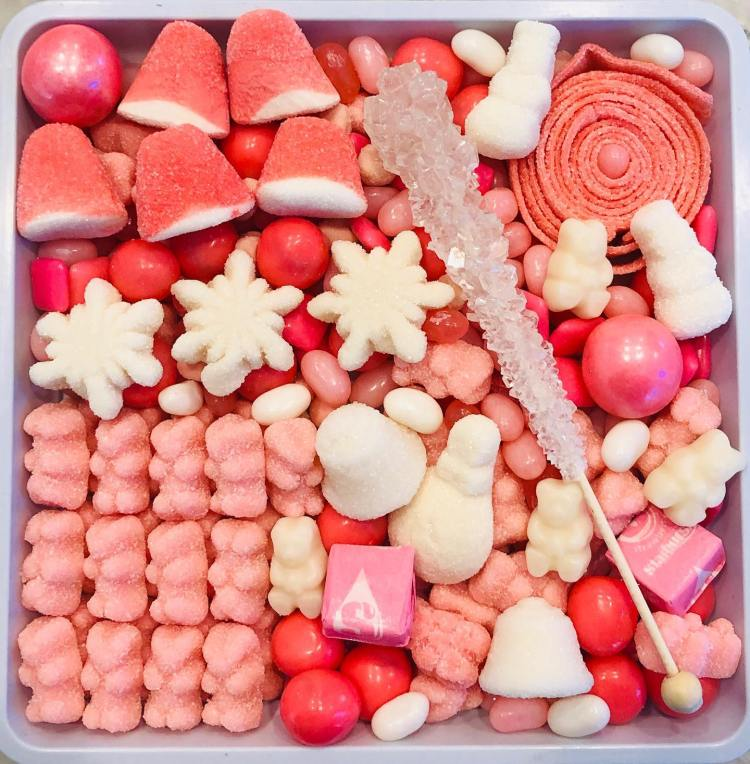 Pink candy tray from Sugar Inc