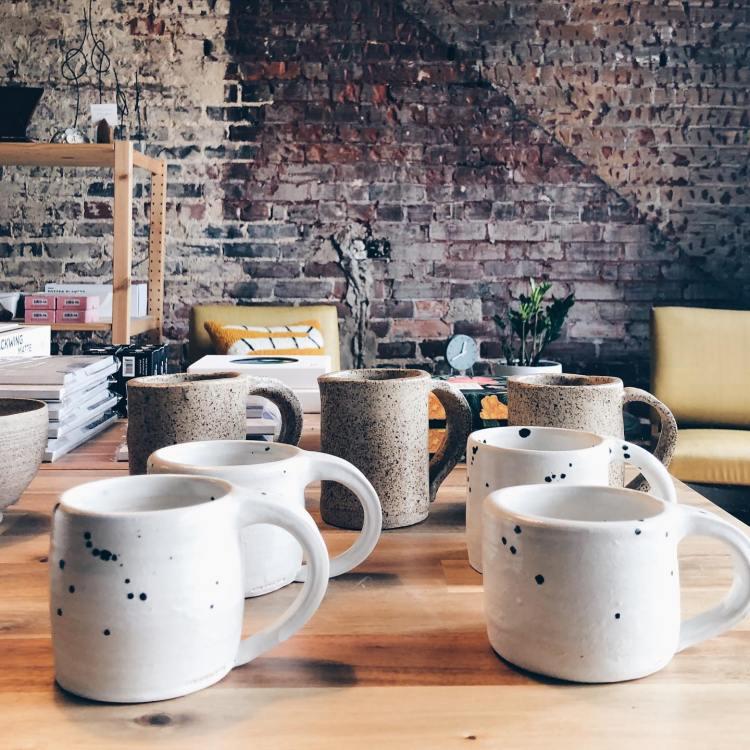 Ceramic white mugs with black speckles