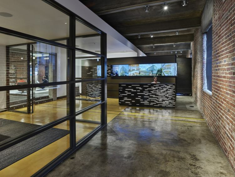 reception area at one of Birmingham's offices of the future designed by Williams Blackstock Architects