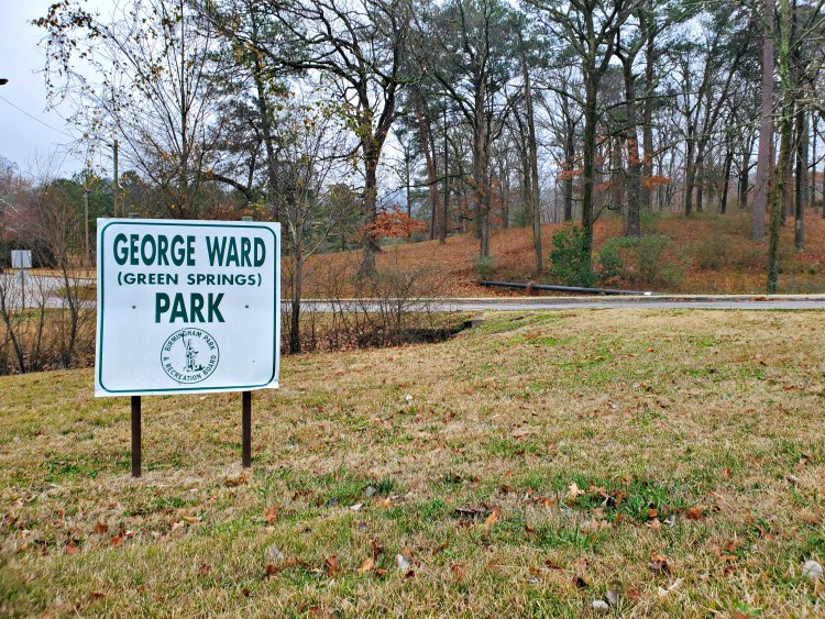 George Ward (Green Springs) Park sign and trees in Green Springs