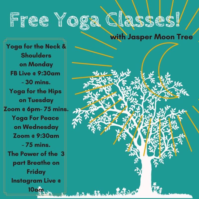 Flyer for Jasper Elliott Wolfe's yoga workouts