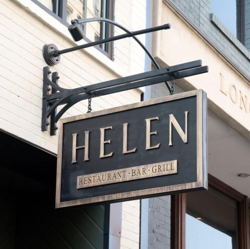 Storefront sign of Helen's in Birmingham, Alabama. Part of the  Valentine's Day guide