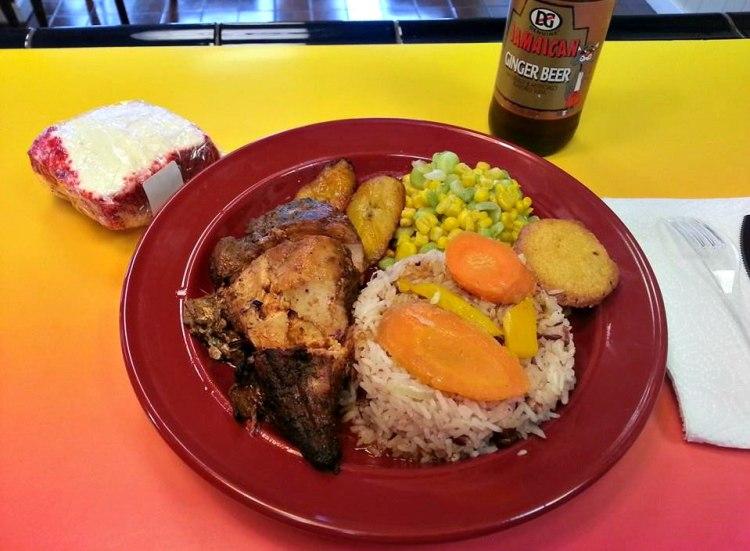 Jerk chicken plate from Tropical GRILL Caribbean restaurants in Birmingham