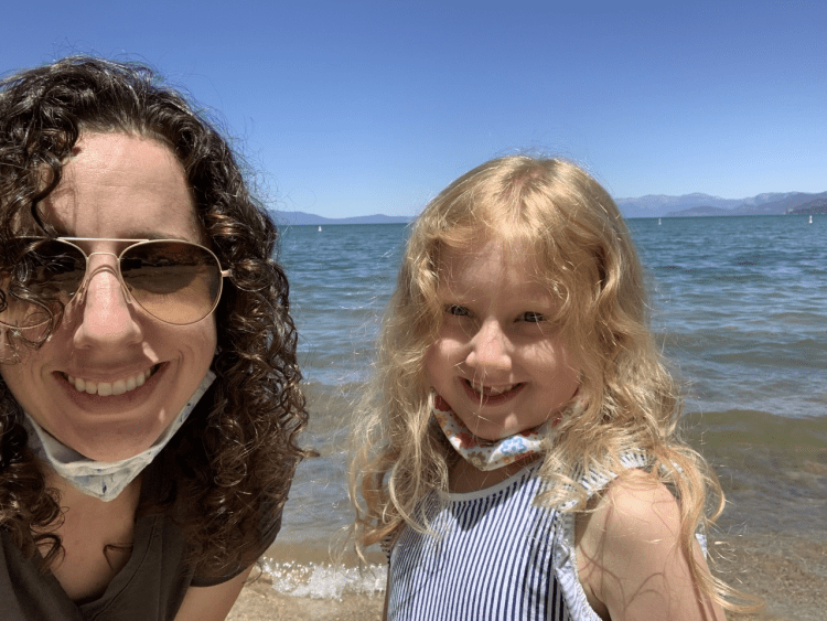 Stephanie May and her daughter at Lake Tahoe, working remotely from Birmingham
