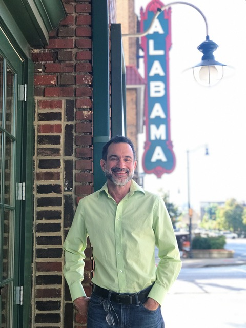 Buddy Palmer in front of the Alabama Theatre